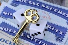 De sleutel tot sociale zekerheidvoordelen Stock Foto