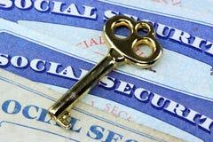 De sleutel tot sociale zekerheidvoordelen Stock Foto's