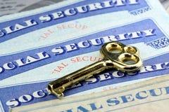 De sleutel tot sociale zekerheidvoordelen Royalty-vrije Stock Foto's