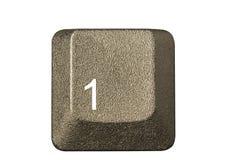 De sleutel van de computer in een toetsenbord met brief, aantal en Stock Afbeeldingen