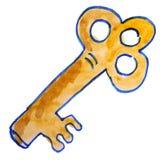De sleutel van de de jonge geitjeswaterverf van het tekeningsbeeldverhaal op wit vector illustratie