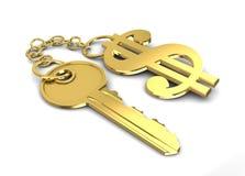 De sleutel van de dollar Royalty-vrije Stock Afbeeldingen