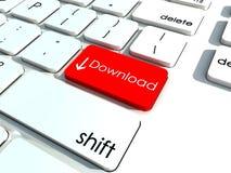 De sleutel van de download op wit toetsenbord Royalty-vrije Stock Afbeeldingen