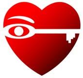 De sleutel van de liefde Stock Foto's