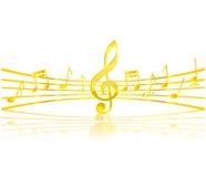 De sleutel van de muziek en elementen gouden kleur Stock Afbeelding