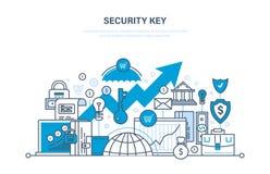 De sleutel van de veiligheid Veiligheid van betaling, gegevensbestand, netwerk, gegevens, stortingen, betalingen vector illustratie