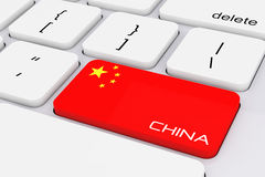 De Sleutel van het computertoetsenbord met de Vlag van China en het Teken van China 3D renderi Stock Fotografie