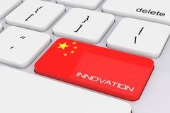 De Sleutel van het computertoetsenbord met de Vlag van China en Innovatieteken 3d aangaande Royalty-vrije Stock Foto
