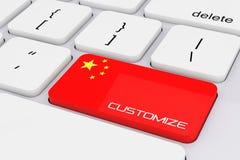 De Sleutel van het computertoetsenbord met de Vlag van China en past Teken aan 3d ren Stock Foto's
