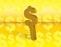 De sleutel van het geld Stock Afbeeldingen