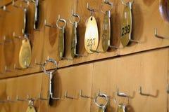 De sleutel van het hotel en FOB stock afbeeldingen