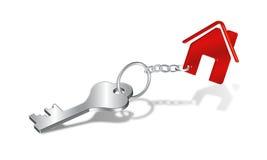 De Sleutel van het huis en symbool Keychain Stock Afbeeldingen