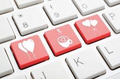 De sleutel van het liefdesymbool op toetsenbord Stock Afbeeldingen