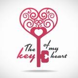 De sleutel van mijn hart (roze hartsleutel) vectorontwerp Royalty-vrije Stock Foto's