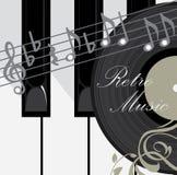 De sleutels, de schijf en de nota's van de piano. De achtergrond van de muziek Royalty-vrije Stock Foto's