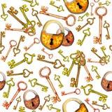De sleutels en de sloten van het waterverfpatroon stock illustratie