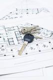 De sleutels en het plan van het huis Stock Afbeelding