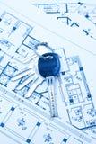De sleutels en het plan van het huis Royalty-vrije Stock Foto's