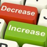 De Sleutels van de dalingsverhoging toont het Verminderen of het Stijgen royalty-vrije illustratie