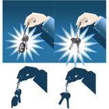 De sleutels van de de handholding van de zakenman Royalty-vrije Stock Afbeeldingen