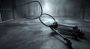 De Sleutels van de gevangenisonderbreking en Gevangeniscel Stock Fotografie