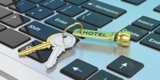 De sleutels van de hotelruimte op een toetsenbord 3D Illustratie vector illustratie