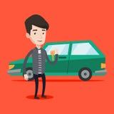 De sleutels van de mensenholding tot zijn nieuwe auto royalty-vrije illustratie