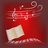 De sleutels van de piano en muzieknota's Royalty-vrije Stock Afbeeldingen