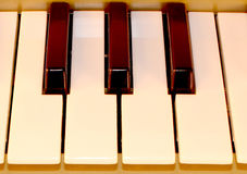 De sleutels van de piano Full-sized toetsenbord Octaafpiano het spelen stock afbeelding