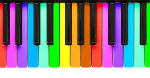 De sleutels van de Piano van de regenboog Stock Foto's