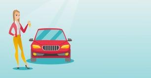 De sleutels van de vrouwenholding tot haar nieuwe auto royalty-vrije illustratie