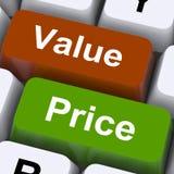 De Sleutels van de waardeprijs betekenen Productkwaliteit en Tarifering Stock Afbeelding