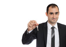 De sleutels van de zakenmanholding Royalty-vrije Stock Foto's