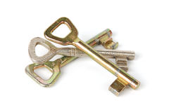 De sleutels van het trio die op wit worden geïsoleerdo Royalty-vrije Stock Afbeeldingen