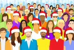 De Slijtage Santa Hat Big Crowd van de Kerstmisgroep Mensen Stock Foto's