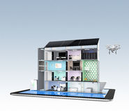 De slimme bureaubouw op tabletpc De de energiesteun van het slimme bureau door zonnepaneel, opslag aan batterijsysteem Royalty-vrije Stock Fotografie
