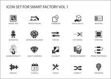 De slimme fabriekspictogrammen zoals sensor, rfid, productieproces, automatisering, vergrootten werkelijkheid vector illustratie