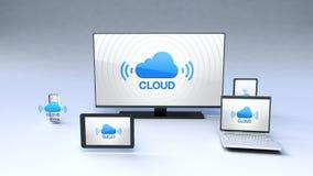 De slimme functie van de Wolkendienst met alomtegenwoordig mobiel apparatenconcept stock illustratie