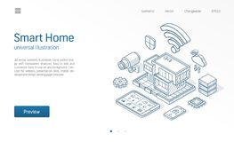 De slimme illustratie van de Huis isometrische lijn Technologiehuis, het netwerk van controlekabeltelevisie, moderne architectuur stock illustratie