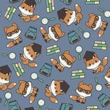De slimme kleine vossen met school levert naadloos patroon Stock Foto's