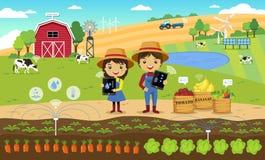 De slimme landbouw en Internet van dingsconcept Stock Afbeeldingen