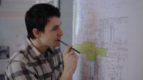 De slimme mens analyseert zorgvuldig lay-out die op muur in bureau wordt gehangen stock videobeelden
