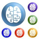 De slimme pictogrammen van conceptenhersenen geplaatst vector royalty-vrije illustratie