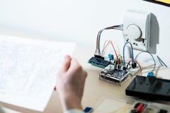 De slimme schema's van de de ontwikkelingsingenieur van het huissysteem royalty-vrije stock fotografie