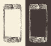 De slimme Telefoon (iPhone), smartphone mobiele tablet, graveerde stijl, getrokken hand Stock Afbeeldingen