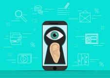 De slimme telefoon met oor en het oog creen  Achtergrond met de eenvoudige pictogrammen van de lijnstijl Het concept veiligheid e Royalty-vrije Stock Afbeeldingen
