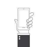 De Slimme Telefoon van de Holding van de hand Vlak Ontwerp Het pictogram van het Web stock illustratie
