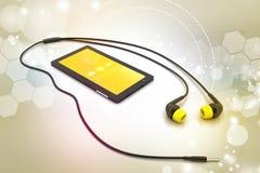 De slimme telefoon van verschillende media met oortelefoons Stock Afbeelding