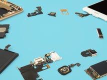 De slimme telefooncomponenten isoleren op blauwe achtergrond royalty-vrije stock afbeelding