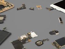 De slimme telefooncomponenten isoleren op Grijze achtergrond stock afbeeldingen